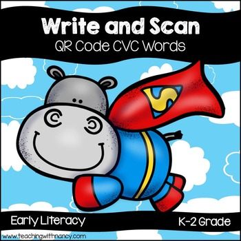 QR Code Write and Scan Super Hero Hippo CVC Words