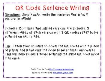 QR Code sentence writing