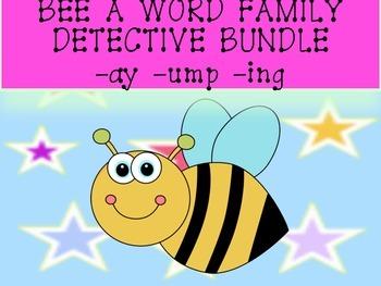 QR Codes Bee a Word Family Detective -ay --ump -ing