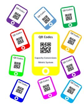QR Codes Capacity Conversion Task Cards - Metric System