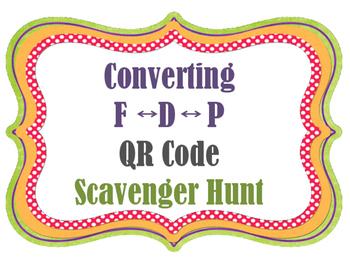 QR Codes Converting Decimals Percents Fractions Scavenger Hunt
