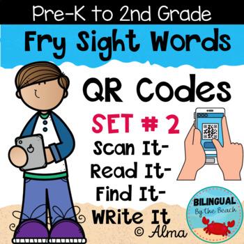 QR Codes Scan It-Read It-Find It-Write It- Fry Sight Words Set 2