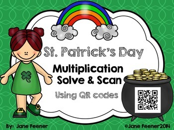 QR Codes St. Patrick's Day 2 digit by 2 digit Multiplication