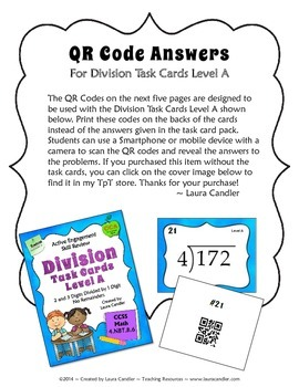 QR Codes for Division Level A Task Cards