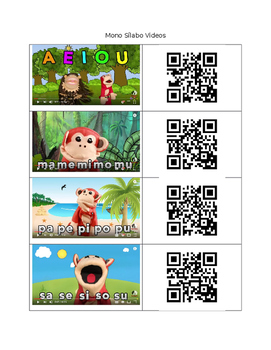 QR Codes for Spanish Silabas