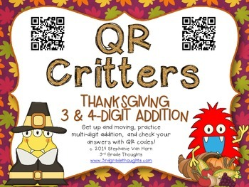 QR Critters: 3 & 4-Digit Addition {Thanksgiving}