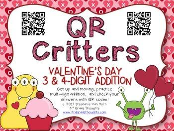 QR Critters: 3 & 4-Digit Addition {Valentine's Day}