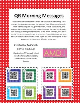 QR Morning Messages - Lang. Arts, Science, Soc. Studies, Math