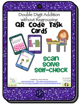 QR Task Cards Double Digit Addition without Regrouping