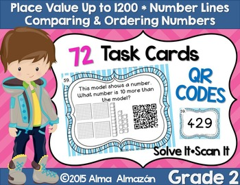 QR Task Cards Place Value Number Lines Comparing and Order
