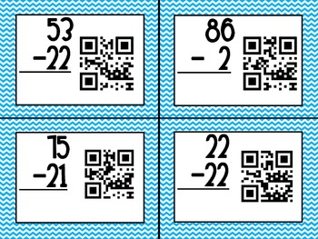 QR code Double Digit Subtraction Without Regrouping