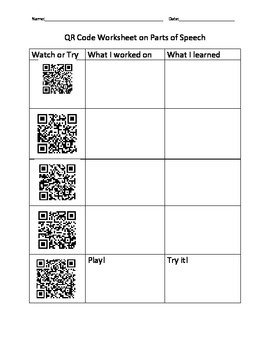 QR code Parts of speech Worksheet