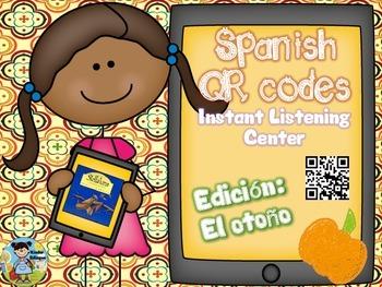 QR codes in Spanish plus comprehension questions (El otoño)