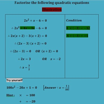 QUADRATIC EQUATIONS BEST FOR REVISION TEST AND HOME WORK F