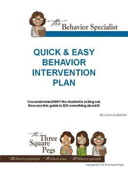 QUICK & EASY BEHAVIOR INTERVENTION PLAN