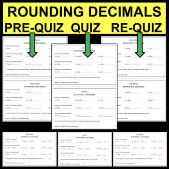 QUIZ Rounding Decimals Place Value Assessment Tenths Hundr