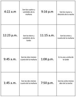SPANISH ¿Qué hora es? Matching Cards