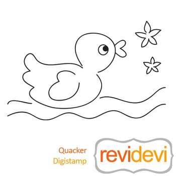 Quacker (digital stamp, coloring image) S029, rubber ducky