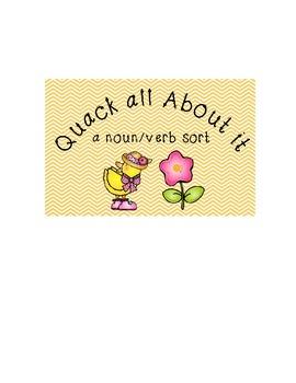 Quacky Noun and Verb Sort pocket chart