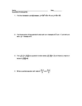 Quadratic Challenge Questions