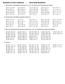 Quadratic & Cubic Equations – Factorizing Quadratics