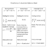 Quadratic Equation (Forms) Reference Sheet