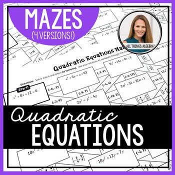 Quadratic Equations Mazes
