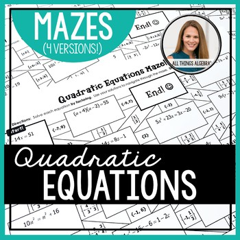 Quadratic Equations Mazes (with Complex Solutions)