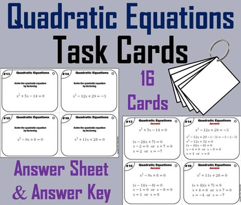 Quadratic Equations Task Cards/ Quadratic Formula Task Car