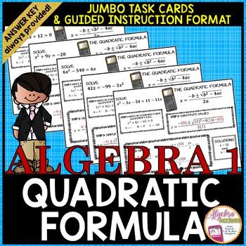 Quadratic Equations: Using the Quadratic Formula Jumbo Task Cards