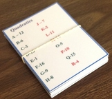 Quadratic Flash Cards - Matching Game