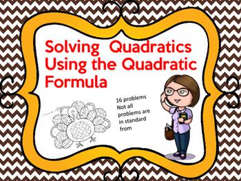 Quadratic Formula Color the Turkey