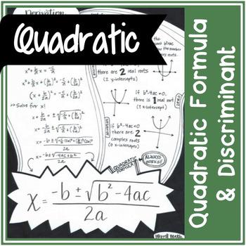 Quadratic Formula (& derivation) and Discriminant | Doodle Notes