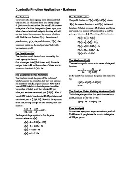 Quadratic Function Business Application