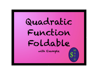 Quadratic Function Foldable