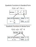 Quadratic Function Graphic Organizer