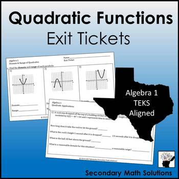 Quadratic Functions Exit Tickets (or Warm-ups)