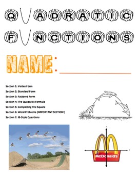 Quadratic Functions Review Packet
