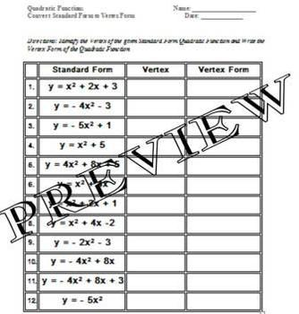 Quadratic Functions Standard Form to Vertex Form Worksheet