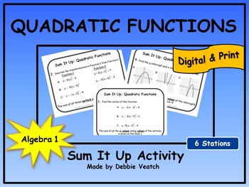 Quadratic Functions Sum It Up Activity