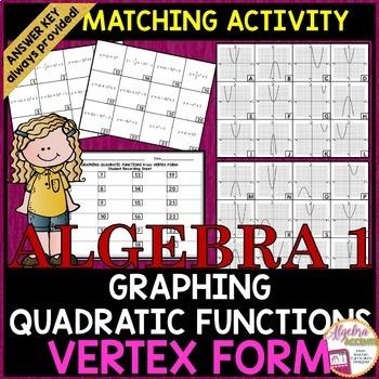 Graphing Quadratic Equations: Vertex Form to Graph Matchin