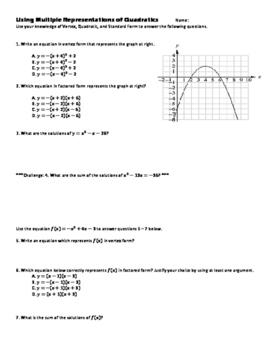 Quadratic Functions in Vertex Form, Factored Form, and Sta