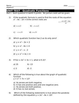 Quadratic Functions/Equations UNIT TEST (Algebra I)