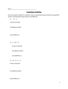 Quadratic Sequences Activity 4 of 5