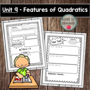 Quadratics - Algebra Interactive Notebook (Unit 9)