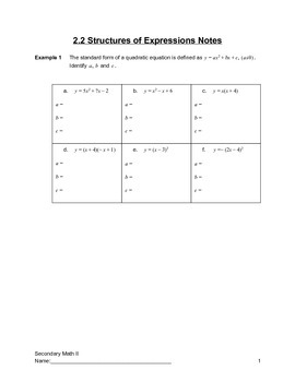 Quadratics Graphing and Key Information About Quadratics G