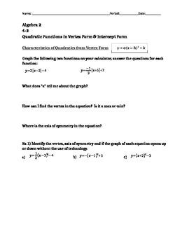 Quadratics- Vertex Form & Intercept Form