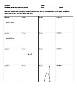 Quadratics Vertex Form Matching Activity