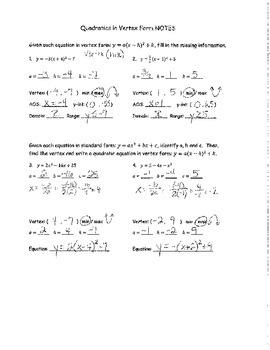 Quadratics in Vertex Form NOTES KEY