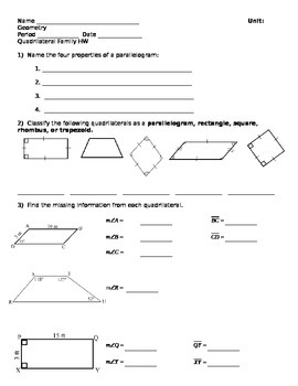 Quadrilateral Family Homework